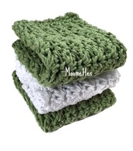 Handmade Kitchen Dish Cloths Green White Crochet Cotton Dishcloths Set of 3 - $18.75