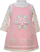 Bonnie Jean Little Girl 2T-4T Pink Snowflake Applique Sweater Knit Jumper Dress image 1