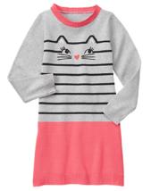 Gymboree 10 Dress Kitty in Pink Cat Sweater Dress Stripes Coral Black Gr... - $15.88