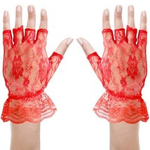 Skeleteen Fingerless Lace Red Gloves - Ladies and Girls Ruffled Lace Fin... - £9.67 GBP