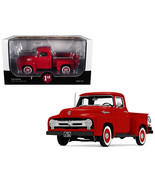 1956 Ford F-100 Pickup Truck High Feature Vermillion Red 1/25 Diecast Mo... - $79.49