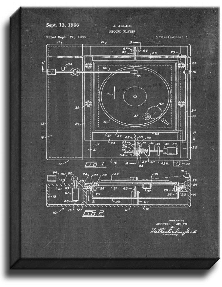 Primary image for Record Player Patent Print Chalkboard on Canvas