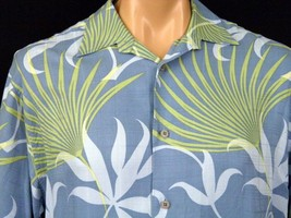 Cubavera Camp Shirt Mens sz L Blue with Yellow Green Palm Fronds EUC 100... - $20.56