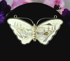 Nielloware BUTTERFLY BROOCH Vintage Niello WHITE ENAMEL Oriental Scene G... - $18.99