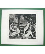NUDE Mythology Diana & Callisto by Titian - SUPERB Antique Print - $18.90