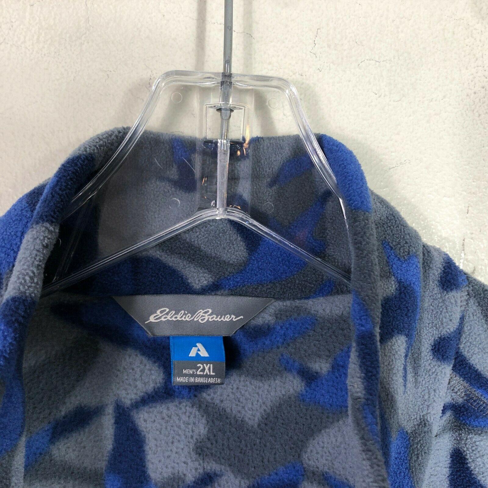 Eddie Bauer First Ascent Fleece Jacket 1/2 Zip Men's 2XL Blue Gray Long Sleeve image 12