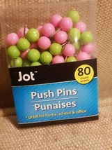 Jot Push Pins 80 Count Pink and Green - $5.89