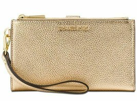 Michael Kors NWT $108   Wristlet Wallet Phone Case Double Zip Gold Leather  - £59.53 GBP