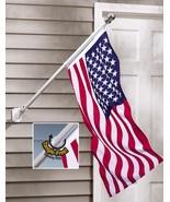 American Flag and Flagpole Rotating Pole Adjustable Porch Banner Display... - $34.49