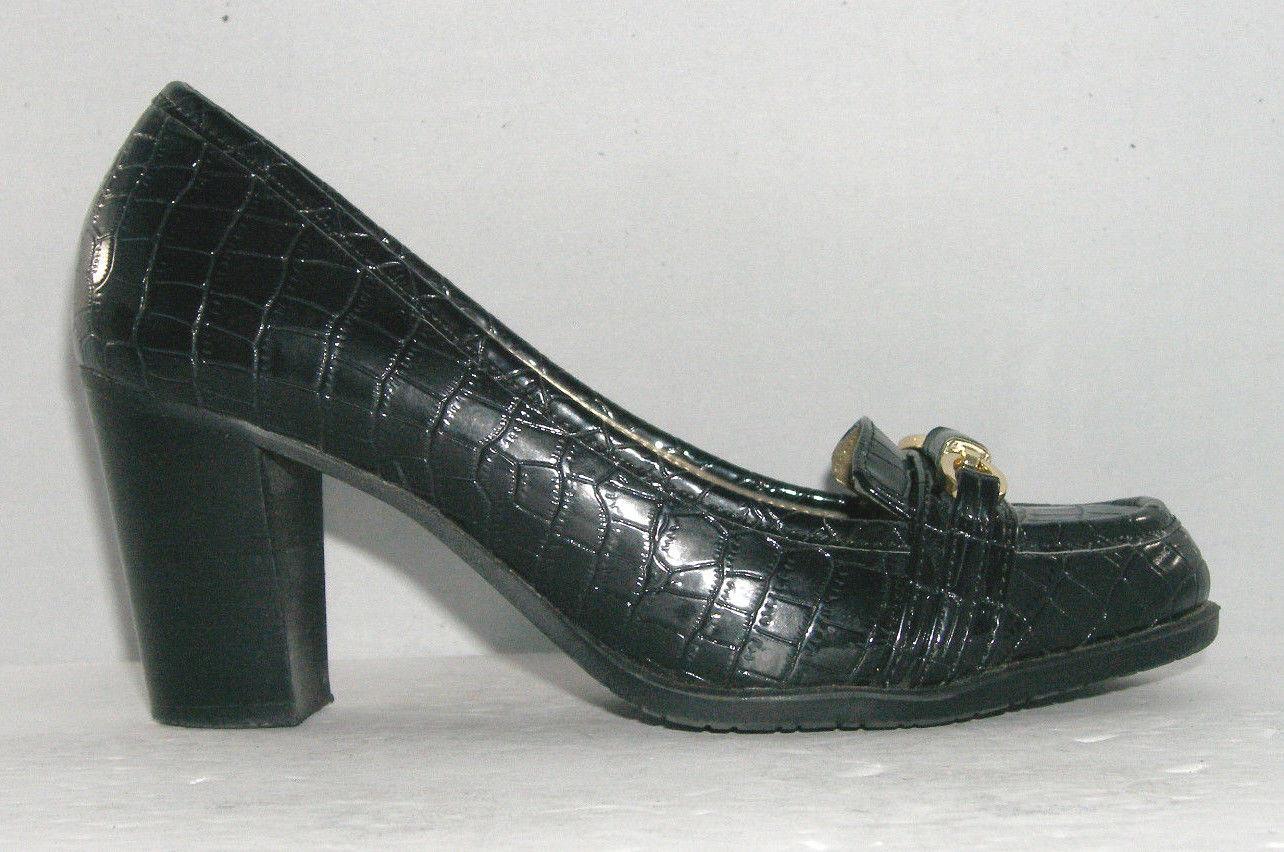 Bandolino 'Arguello' black croc print gold detail loafers womens stacked heel 6M