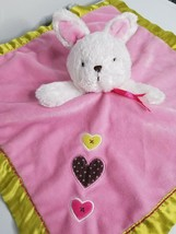 Carters Just One You Pink Baby Lovey White Bunny Rattle Hearts Green Sat... - $19.99