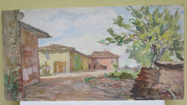Painting Antique landscape View Countryside Painting To oil On Board & S... - $143.77
