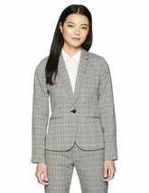 Calvin Klein Plaid Blazer One Button Gray Black Faux Pockets Jacket Womens Sz 2P - $108.90