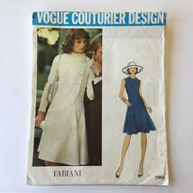 Vintage Vogue 1065 Couturier Fabiani Tulip Dress Misses 14 Jewel Neckline Uncut - $31.88