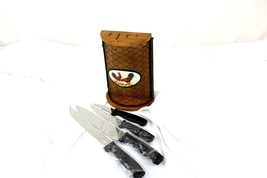 Rooster Themed Kitchen Cutting Knives and Holder - $40.00