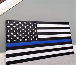 """36"""" x 19"""" Large Hand-Crafted Thin Blue Line Wood American Flag for our P... - $58.43"""