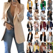Womens Open Front Laple Blazer Suit Coat Slim Fit Formal Dress Jacket Ou... - $49.90