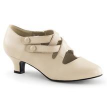 "Renaissance Cream Vintage Strap 2"" Low Heel Victorian Halloween Costume ... - $46.95"