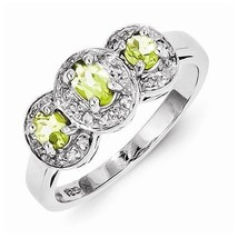 STERLING SILVER GENUINE .6 CT GREEN PERIDOT & DIAMOND 3-STONE  RING - SI... - £66.21 GBP
