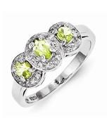 STERLING SILVER GENUINE .6 CT GREEN PERIDOT & DIAMOND 3-STONE  RING - SI... - $92.29