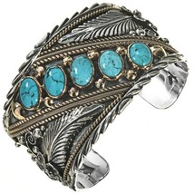 Navajo BIG BOY Sterling Silver 12KGF Turquoise Row Bracelet Mens Cuff s7... - £594.64 GBP+