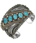 Navajo BIG BOY Sterling Silver 12KGF Turquoise Row Bracelet Mens Cuff s7... - $769.00+