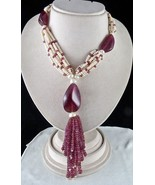 922 CTS PINK TOURMALINE PEARL ROUND & TUMBLE BEADS TASSEL NECKLACE - $3,724.00