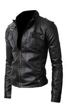 Mens Slimfit Cafe Racer Strap Pocket Black Biker Leather Jacket image 2