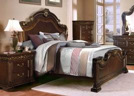McFerran B538 Traditional Dark Cherry Wood Finish King Size Bedroom Set 3Pcs