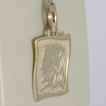 Yellow gold medal pendant 375 9k, face christ, parchment, wavy, Italy image 2