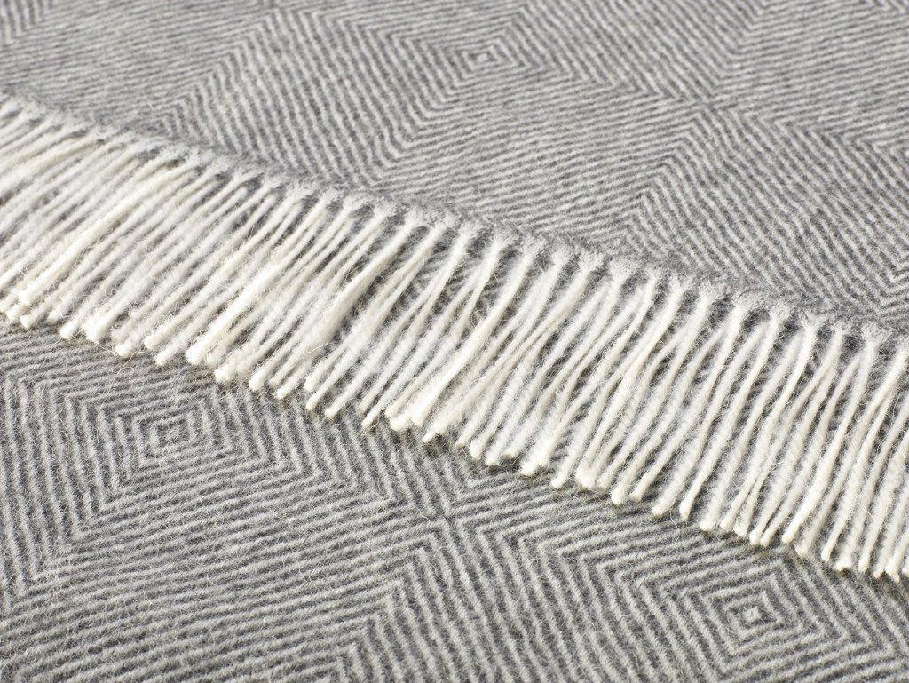 Alpaca Throw/Blanket - Diamond Herringbone - Natural Gray