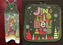 Jingle Bells Kitchen Towel Topper + Potholder Set - $5.00