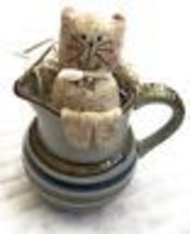 Cat Sitting Nestled In Stoneware Creamer Home Kitchen Decoration Feline ... - $20.48