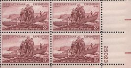 1954 Lewis and Clark Expedition Plate Block of 4 US Stamps Catalog 1063 MNH