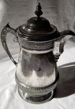 HUGE Meriden Quadruple Silverplate Water Pitcher with Hinged Lid from 18... - $82.00
