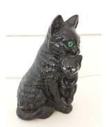VINTAGE  BLACK  CERAMIC  CAT  GREEN  GLASS  EYES CARRYING KITTEN IN MOUTH  - $26.18