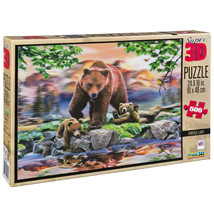 Sealed Howard Robinson Super 3D Puzzle 24 x 18 Grizzly Bears Painted Lady - $34.28