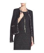 St. John Collection MESTO Silk Trim Wool Blend Knit Jacket BLACK Caviar ... - $371.54