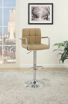 Arm Chair Style Bar Stool With Gas Lift Brown And Silver Set of 2 - $308.78