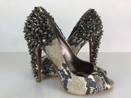 Sam Edelman S Lorissa Gray Python Sz 6 Peep Toe Spiked Stiletto Heels MSRP $180 - $39.59