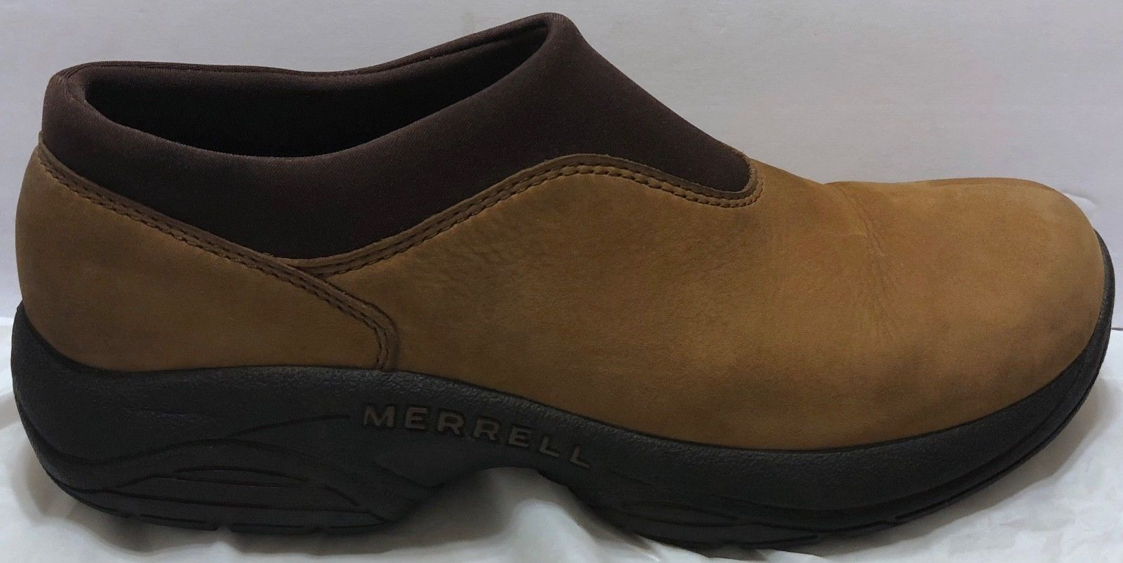 Merrell Primo Moc Mocha Nubuck Shoes Size 9.5 Slip On Hiking Trail Walking Brown