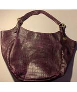"""Brahmin Purple Leather Handbag Large Jumbo Crocodile Hobo Purse Rare 22""""... - $159.00"""