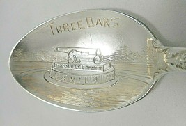 Sterling Silver Souvenir Spoon Three Oaks, Michigan-The Dewey Cannon Memorial - $52.19