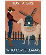 VibesPrints Vintage Farm Girl Llama Poster Art Print, Great Gift For Lla... - $25.59+