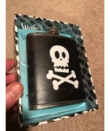 HIP DRINKING FLASK PIRATE SKULL & CROSSBONES - Compare the Skull Smile t... - $14.95
