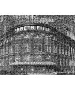 Brooklyn Dodgers Ebbets Field Player Mosaic Black & White Print. Made fr... - $45.00