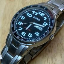 Vintage Benru Mens 30m Silver Black Analog Quartz Watch Hour~Day Date~Ne... - $26.59