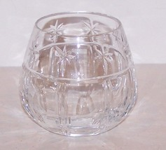LOVELY SIGNED WATERFORD CRYSTAL CUT STARS, OVALS & VERTICAL LINES CANDLE... - $26.13