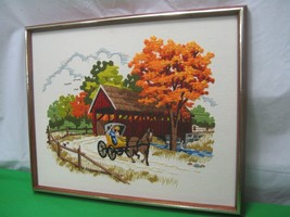 Textile Cloth Hand Stitched Covered Bridge Horse & Buggy Picture Wood Frame - $23.33