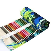 Coideal Colored Pencil Holder Case/ 72 Slots Canvas Wrap Holder Roll Up Pouch Ca